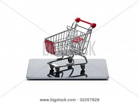 Shopping cart at digital tablet