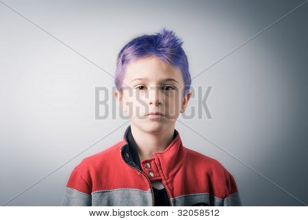 blank boy with blue hair