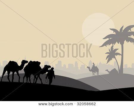 Camel Caravan Sillhouette