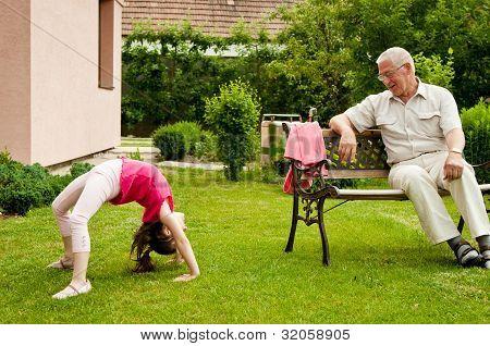 Happy retirement with grandchild
