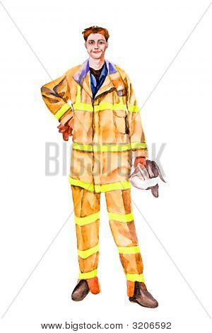 Fire Fighter (man winning fire)  illustration