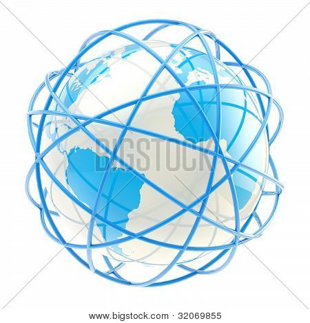 Earth globe belted with blue rings
