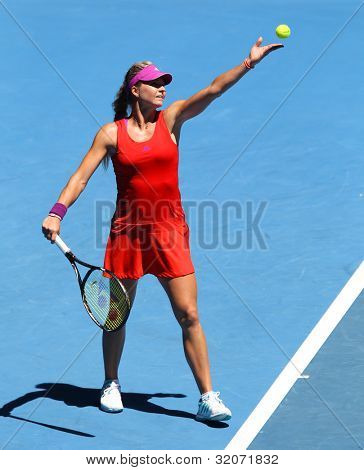MELBOURNE - JANUARY 17: Maria Kirilenko of Russia in her first round win over Jamila Gajdosova of Australia at the 2012 Australian Open on January 17, 2012 in Melbourne, Australia.