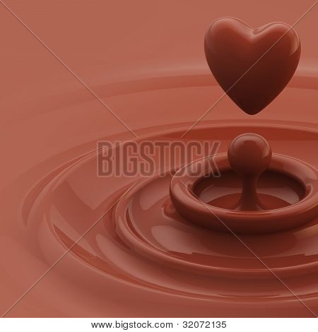 Background as a chocolate heart like drop