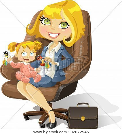 Business mom with baby girl in an office chair