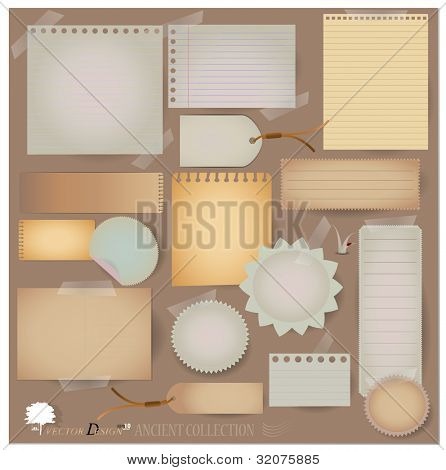 Vector set: Vintage postcard, and blank paper designs. (variety of scraps for your layouts or scrapbooking projects)