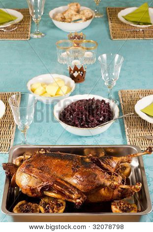 Table Ready Laid With Goose