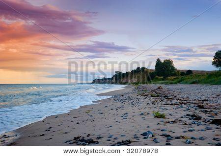 Beach on the island Moen