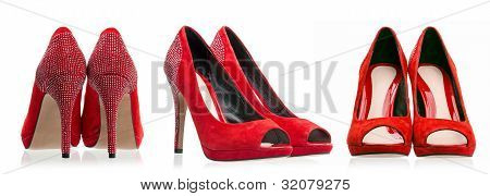 Red dress shoes over white