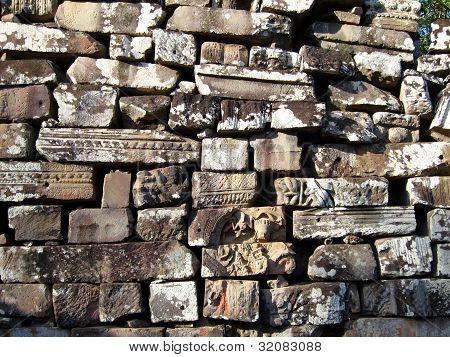 Ancient bricks at Angkor ruins