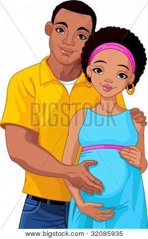Happy young couple with pregnant belly