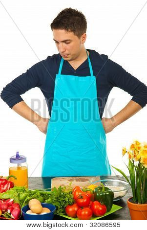Confused Man In Kitchen