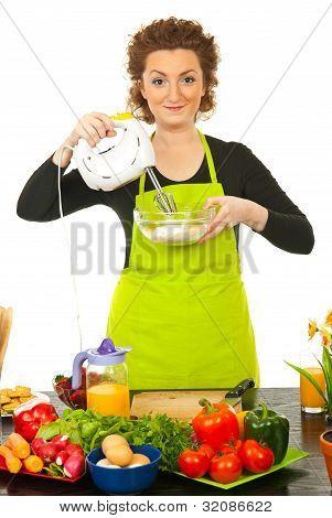 Woman Using Mixer