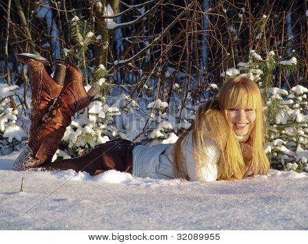 woman is happy winter