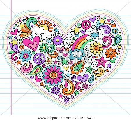Valentine's Day Love Heart Groovy Psychedelic Hand Drawn Notebook Doodle Design Elements Set on Lined Sketchbook Paper Background- Vector Illustration
