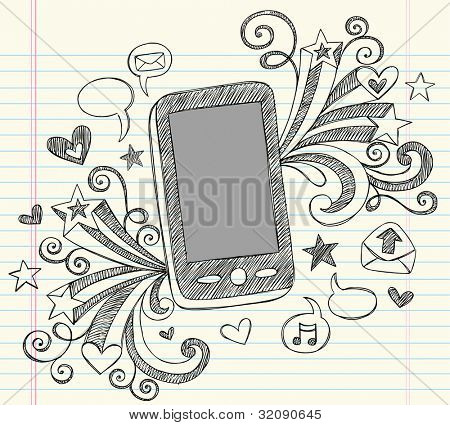 Hand-Drawn Mobile Cell Phone PDA Sketchy Notebook Doodles with Swirls, Hearts, Email Icons, Speech Bubbles, and Shooting Stars- Vector Illustration Design Elements on Lined Sketchbook Paper Background