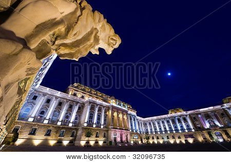 Budapest, the Lions Court of Buda Castle or Royal Palace and one of four lions of arched gateway