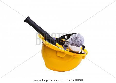 A yellow hard hat with hammer on white