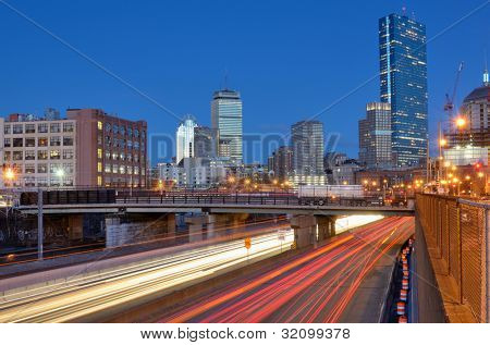 Downtown Boston, Massachusetts viewed from above Massachusetts Turnpike.