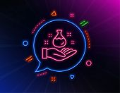 Chemistry Lab Line Icon. Neon Laser Lights. Laboratory Flask Sign. Analysis Symbol. Glow Laser Speec poster