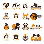 Vet Clinic Logo. Pets Shop Cats Dogs Domestic Animals Protection Friendly Funny Symbols Vector Colle poster