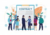 Poster Inscription On Document Contract Flat. Constant Access To Office Information. Men And Women S poster