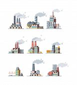 Factory Buildings. Industrial Urban Power Constructions With Pipelines Vector Factory Flat Pictures. poster