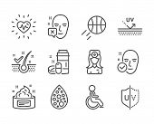 Set Of Healthcare Icons, Such As Uv Protection, Uv Protection, Health Skin, Face Declined, Oculist D poster