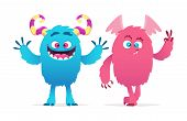 Cute Monsters. Cartoon Boy And Girl Monsters Vector Illustration. Halloween Characters. Funny Monste poster