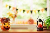 Halloween Decoration. Pumpkin Lantern. Autumn Leaf poster