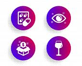 Capsule Pill, Health Eye And Post Package Icons Simple Set. Halftone Dots Button. Bordeaux Glass Sig poster