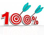 The number 100 percent with arrows shooting into the bulls-eye targets representing success in achie