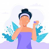 Skin Care Routine. Woman Applying Cream On Her Face, Beauty Routine. Cute Vector Illustration In Fla poster