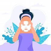Skin Care Routine.woman Putting A Sheet Mask On Her Face, Beauty Routine. Cute Vector Illustration I poster