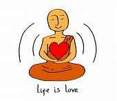 Happy Buddhist Monk Holds A Heart. Vector Illustration. poster
