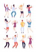 Cartoon Dancing People. Happy Persons Dance, Adults Woman And Man Dancers. Party Crowd Fun Isolated  poster