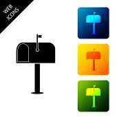 Mail Box Icon Isolated. Mailbox Icon. Mail Postbox On Pole With Flag. Set Icons Colorful Square Butt poster