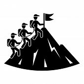 People Group Hiking Icon. Simple Illustration Of People Group Hiking Vector Icon For Web Design Isol poster