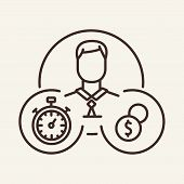 Own Time Management Line Icon. Time Management, Productivity, Student. Training Concept. Vector Illu poster