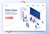 Forex Expo Horizontal Banner. Composition Of Trade Stall In Exhibition Center With People Looking At poster