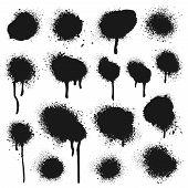 Spray Painted Texture. Paint Splatter Dots, Graffiti Drips And Sprayed Paints. Street Art Print, Van poster