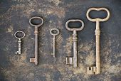 Escape Room Concept, Group Of Antique Keys On Rusty Metal Background poster