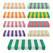 Set Of Striped Awnings For Shop, Marketplace, Cafes And Street Restaurants. Stripe Canopy Icon. Stri poster