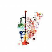 Colorful Trumpet With Human Brain Isolated Vector Illustration Design. Music Background. Trumpet Pos poster