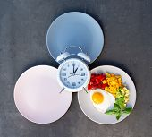 Intermittent Fasting Concept With Empty Colorful Plates. Time To Lose Weight , Eating Control Or Tim poster
