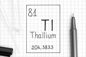 The Periodic Table Of Elements. Handwriting Chemical Element Thallium Tl With Black Pen, Test Tube A poster