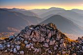 Beautiful Scenic Golden Autumn Hdr Landscape Of Mountain Rock At Sunset. Stone Nature Background, Ch poster