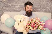 Macho Ready Romantic Date. Man Wear Blue Tuxedo Bow Tie Hold Flowers Bouquet. Romantic Man With Flow poster