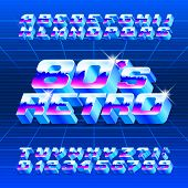 80s Retro Alphabet Font. 3d Letters, Numbers And Symbols. Stock Vector Typescript For Typography In  poster