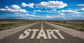 Start Concept. Text Sign On A Long Straight Road, Blue Sky Background poster